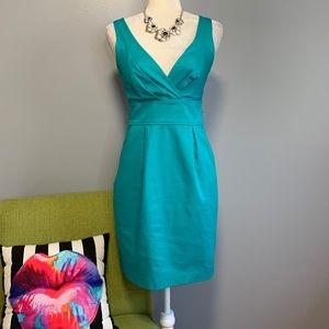 Express Teal Blue Pleated Sheath Dress